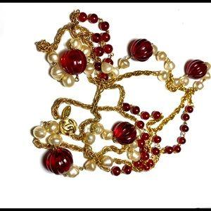 """Chanel Vtg 1984 Sautoir Gripoix pearl 74"""" Necklace"""